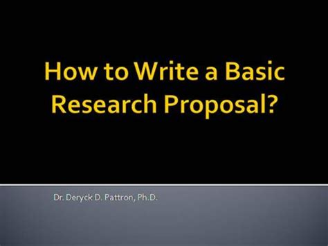 Beginners guide to the research proposal